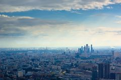 Aerial view on Moscow City busness center stock photography
