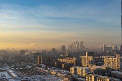 Aerial view of Moscow city in the morning stock photography