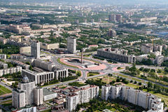 Aerial view of the Moscow district of St. Petersburg, Russia. stock photo