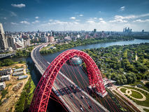 Aerial view of Moscow with modern bridge Royalty Free Stock Photo