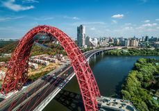 Aerial view of Moscow with modern cable-stayed Zhivopisny bridge Stock Image
