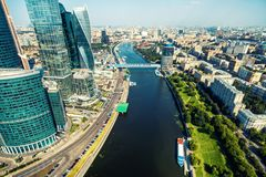 Aerial view of Moscow with Moskva River, Russia. Panorama of Moscow in the sunlight. Modern skyscrapers in Moscow downtown. Landscape and cityscape of Moscow royalty free stock image