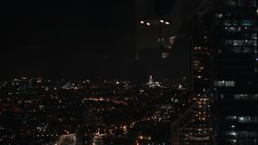 Aerial view on Moscow at night. Loop stock video footage