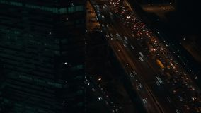 Aerial view on Moscow at night. Loop stock video