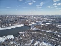 Aerial view of Moscow river near kolomenskoe and pechatniki district. Aerial view from drone to winter snow river. A lot of ice stock image