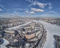 Aerial view of Moscow river near kolomenskoe and pechatniki district. Aerial view from drone to winter snow river. A lot of ice royalty free stock image