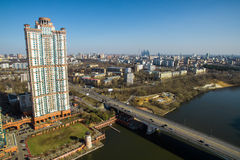 Aerial view of Moscow. Skyscraper of housing complex Alye Parusa Royalty Free Stock Photos