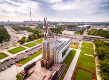 Aerial view of Moscow with soviet monument Worker and Collective Stock Images