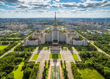 Aerial view of Moscow State University Stock Photos