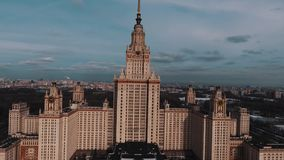 Aerial view of Moscow State University main building in setting sun light stock footage