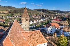 Aerial view of Mosna Vilage and church tower Royalty Free Stock Photos