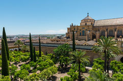 Aerial view of the Mosque Cathedral in Cordoba royalty free stock photos