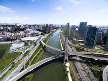 Aerial view of the most famous bridge in the city of Sao Paulo, Brazil Stock Photo