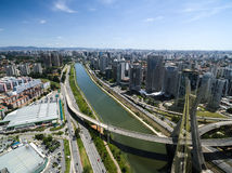 Aerial view of the most famous bridge in the city of Sao Paulo, Brazil.  Stock Photos