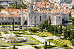 Aerial view of Mosteiro dos Jeronimos Royalty Free Stock Image