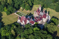 Aerial view of Moszna castle Royalty Free Stock Photography