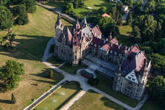 Aerial view of Moszna castle Royalty Free Stock Images