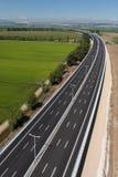 Aerial view of motorway stock photos