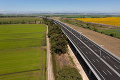 Aerial view of motorway Royalty Free Stock Photography