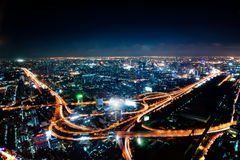Aerial view of the motorway in central Bangkok at night, Thailand Stock Images
