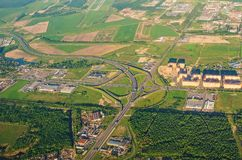 Aerial view of motorway freeway roads junction. Aerial view of motorway freeway roads junction royalty free stock photography