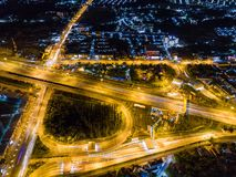 Aerial view of motorway at juction royalty free stock photo