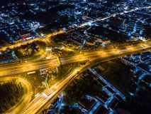Aerial view of motorway at juction Royalty Free Stock Photos