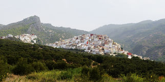 Aerial view of Moulay Idriss Zerhoun near Meknes, Morocco Royalty Free Stock Images