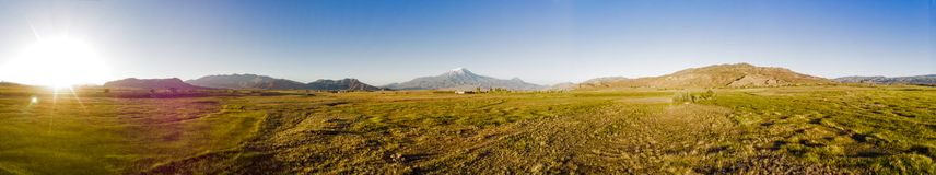 Aerial view of Mount Ararat, Agri Dagi. The highest mountain in Turkey on the border between the region of Agri and Igdir. royalty free stock photo