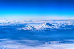 Aerial view of Mount Ararat. Scenic aerial view of Mount Ararat. The legendary resting place of Noah`s Ark Stock Photography