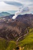 Aerial view of Mount Aso volcano caldera in Kumamoto, Kyushu.  royalty free stock images