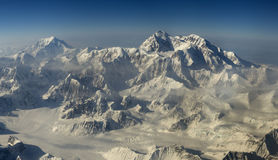 Aerial view at mount Denali (McKinley) royalty free stock photo