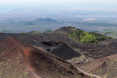 Aerial view from Mount Etna at Sicily island stock photography