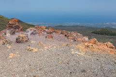 Aerial view from Mount Etna at Sicily island, Italy royalty free stock photos