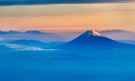 Aerial view of Mount Fuji in the morning Stock Photography