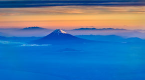 Aerial view of Mount Fuji in the morning Royalty Free Stock Images