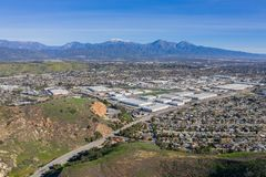 Aerial view of mount mt. Baldy with some building at Pomona area. California stock image