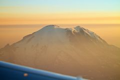 Aerial View Mount Rainier with Sunset in Washington Royalty Free Stock Photo