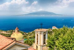 Aerial view of Mount Vesuvius, Bay of Naples, Italy. Aerial view of the Mount Vesuvius from Sorrento, Bay of Naples, Italy stock photography