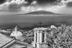 Aerial view of Mount Vesuvius, Bay of Naples, Italy. Aerial view of the Mount Vesuvius from Sorrento, Bay of Naples, Italy stock photo
