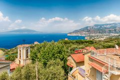 Aerial view of Mount Vesuvius from Sorrento, Bay of Naples, Italy. Aerial view of Mount Vesuvius and the town of Sorrento, Bay of Naples, Italy Royalty Free Stock Photos