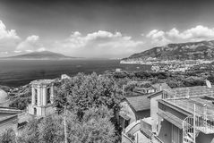 Aerial view of Mount Vesuvius, Italy. Aerial view of Mount Vesuvius and the town of Sorrento, Bay of Naples, Italy stock images