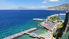 Aerial view of Mount Vesuvius, Bay of Naples, Italy stock video