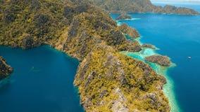 Mountain lake Barracuda on a tropical island, Philippines, Coron, Palawan. Royalty Free Stock Photography