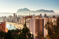 Aerial View from mountain of the city of Benidorm, Spain Stock Photo