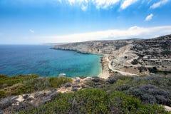 Aerial view on mountain coastline of Crete island, Greece.  Royalty Free Stock Photos