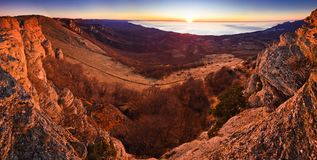 Aerial view of mountain hills and sunrise above Royalty Free Stock Photography