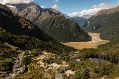 Aerial view of mountain huts on Routeburn Track Stock Photos