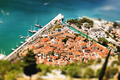 Aerial View from Mountain on Kotor Bay Royalty Free Stock Photo