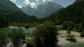 Aerial view of mountain lake stock footage